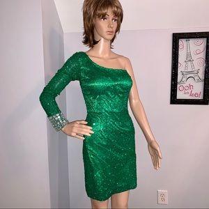 Shail K. Sequin One-Sleeved Dress